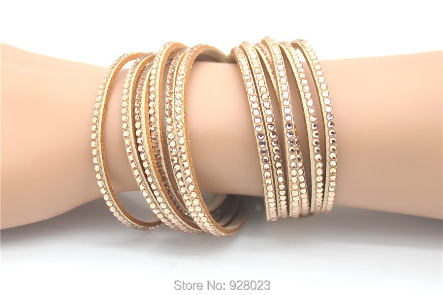Fashion 6 Layer Wrap Bracelets Slake Leather Bracelets With Crystals Couple Jewelry womans bracelet 4
