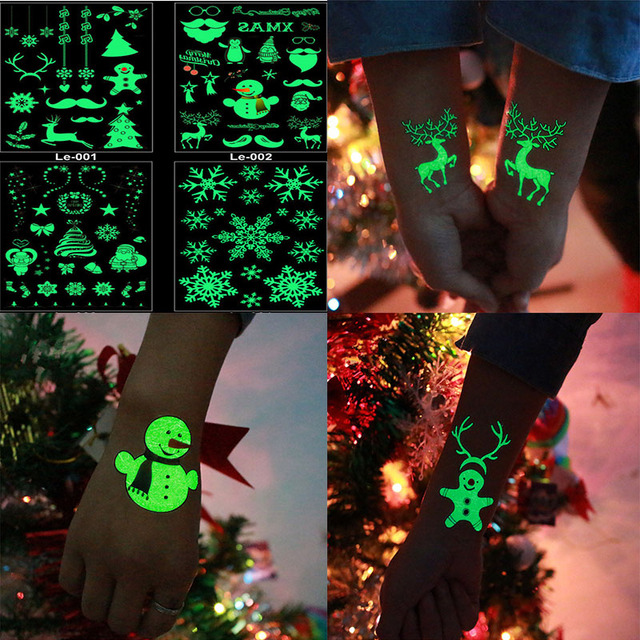 christmas carnival new year party decoration christmas decorations 4pcs luminous temporary tattoo stickers navidad 2018 natal - Where To Buy Christmas Decorations