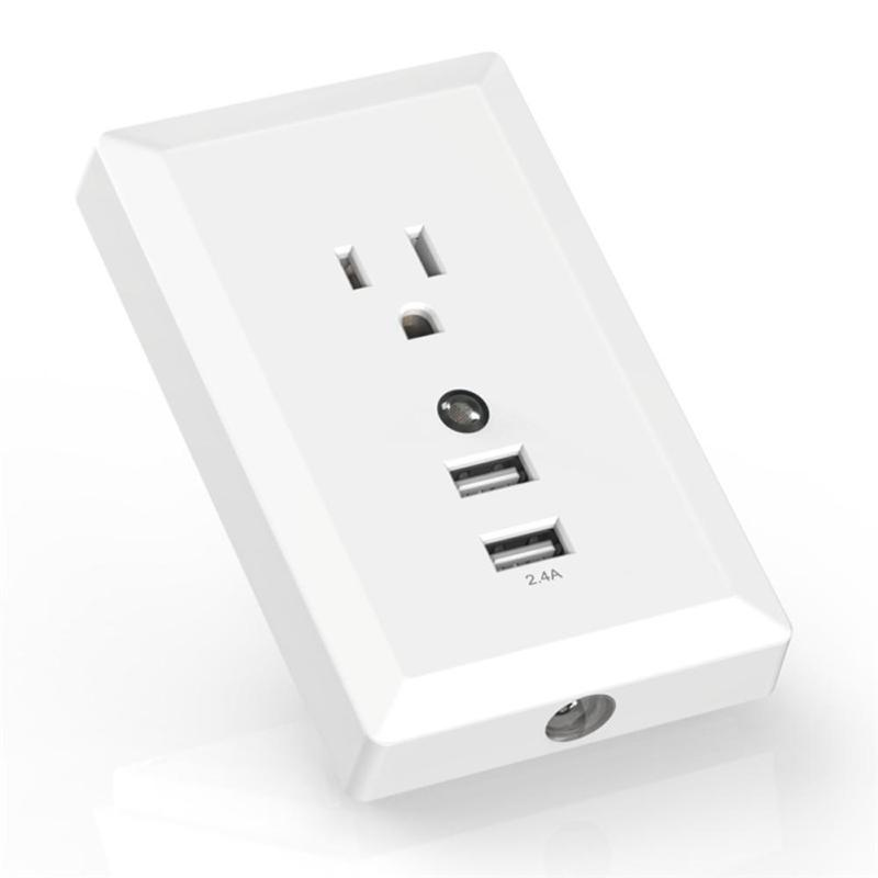 2017 USB Wall Socket with LED Light US Plug Dual USB Port Charger USB Wall Outlet Resistant AC Socket Plate Panel Smart home цена и фото