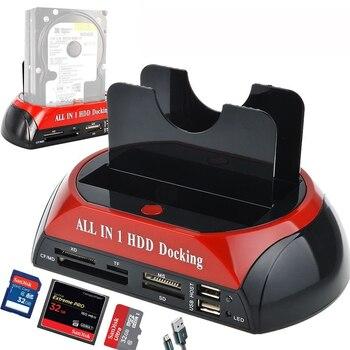 Hard Drive Docking Station USB 2.0 to 2.5 3.5 Inch SATA IDE Dual Slots External HDD SSD Enclosure with Card Reader and USB Hub