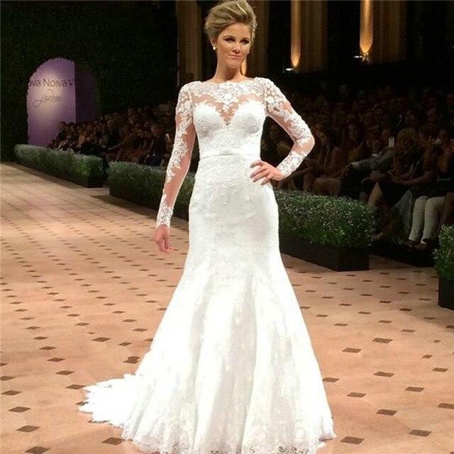 cc2d54716e99 2017 Cheap Vintage Mermaid Wedding Dress Long Sleeve Lace Appliques Bridal  Dresses alibaba china vestido de noiva Au00019