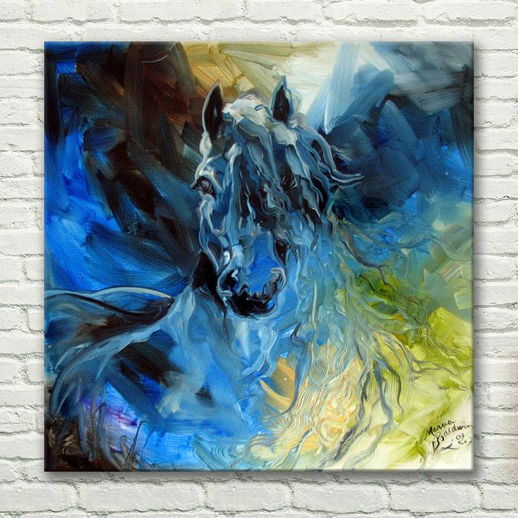 86da10876 الحديثة مجردة ديكور المنزل الفن مجنون الأزرق الحصان ملصقات الحيوان النفط  اللوحة هاندبينتيد جدار الفن على قماش جدار الصور