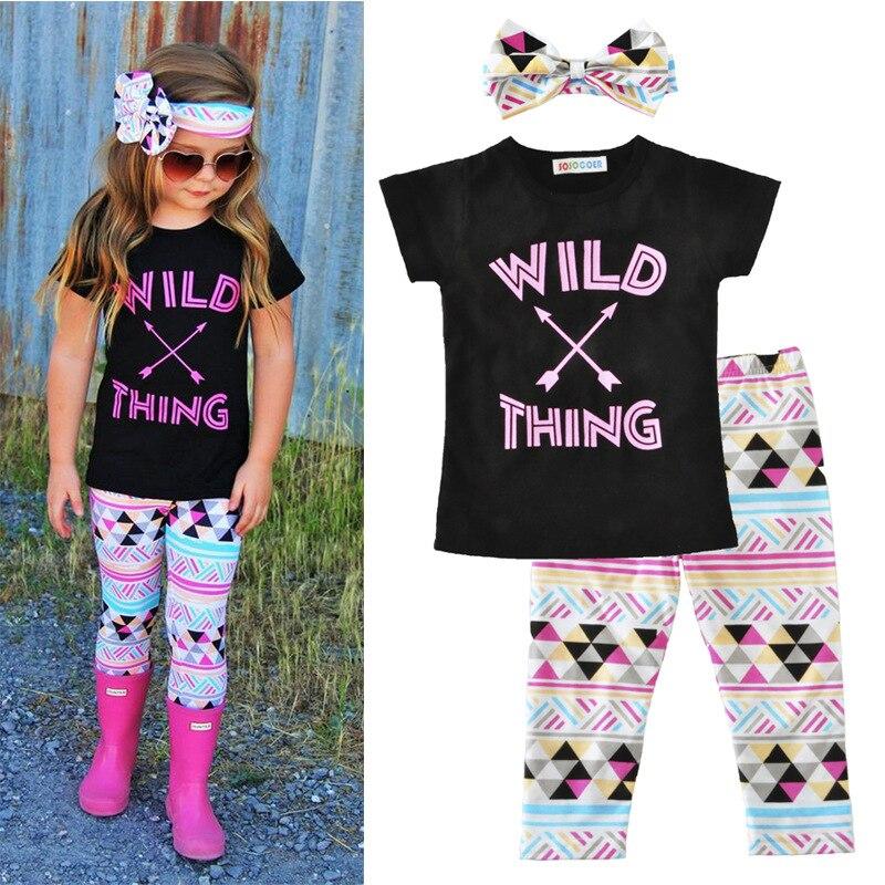 49143235 WILD THING t-shirt and boho leggings / girl outfits / ruffled leggings 2017  /t-shirt +leggings +headband set