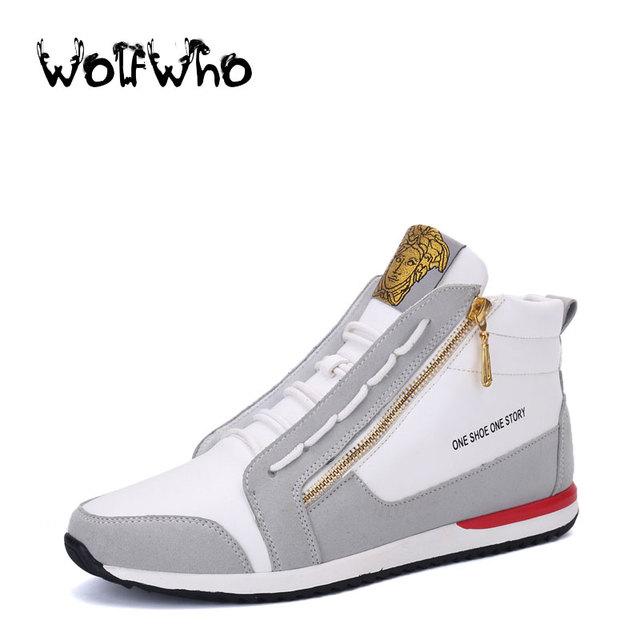Nueva Moda Casual Hombres Zapatos Planos Britpop Side Zip Británica estilo Medusa Zapatos de Alta Superior Zapatos Para Caminar para Hombres Chaussure Homme