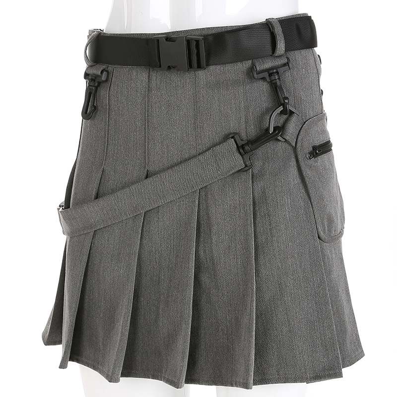 Harajuku Mini Pleated Skirts Women High Waist Casual Girls Skirt With Belt And Pocket Female Bottoms Gray