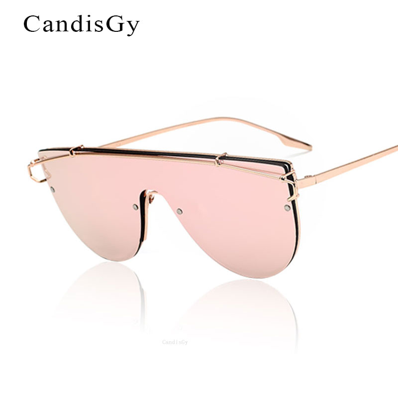 Oversized Women Sunglasses 2017 New Fashion Brand Designer Flat Mirror UV400 Eyewear Lady Sun Glasses Female Metal Frame Big