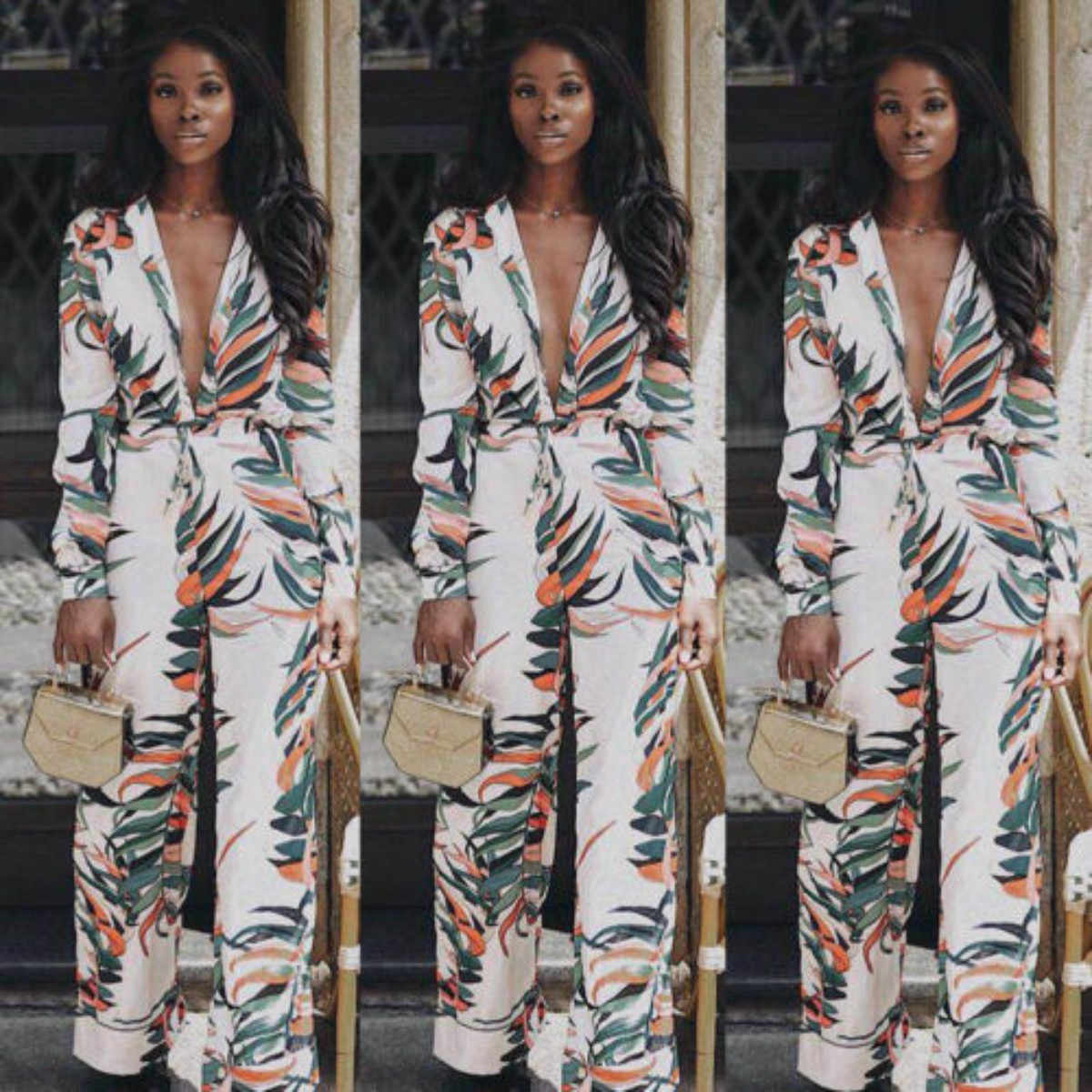 8296423f0641 Rompers 2018 New Brand Sexy Ladies Women Clubwear Jumpsuit Long Sleeve V  Neck Playsuit Trousers Outfit