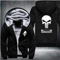 Fashion Marvel Punisher Skull Men And Women Lambskin Velvet Cartoon Super Hero Hoodie Men Zipper Coat
