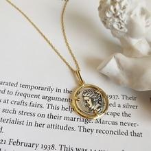 LouLeur 925 sterling silber doppelseitige abbildung anhänger halskette Zwei ton vintage Porträt kreative neckalce für frauen schmuck
