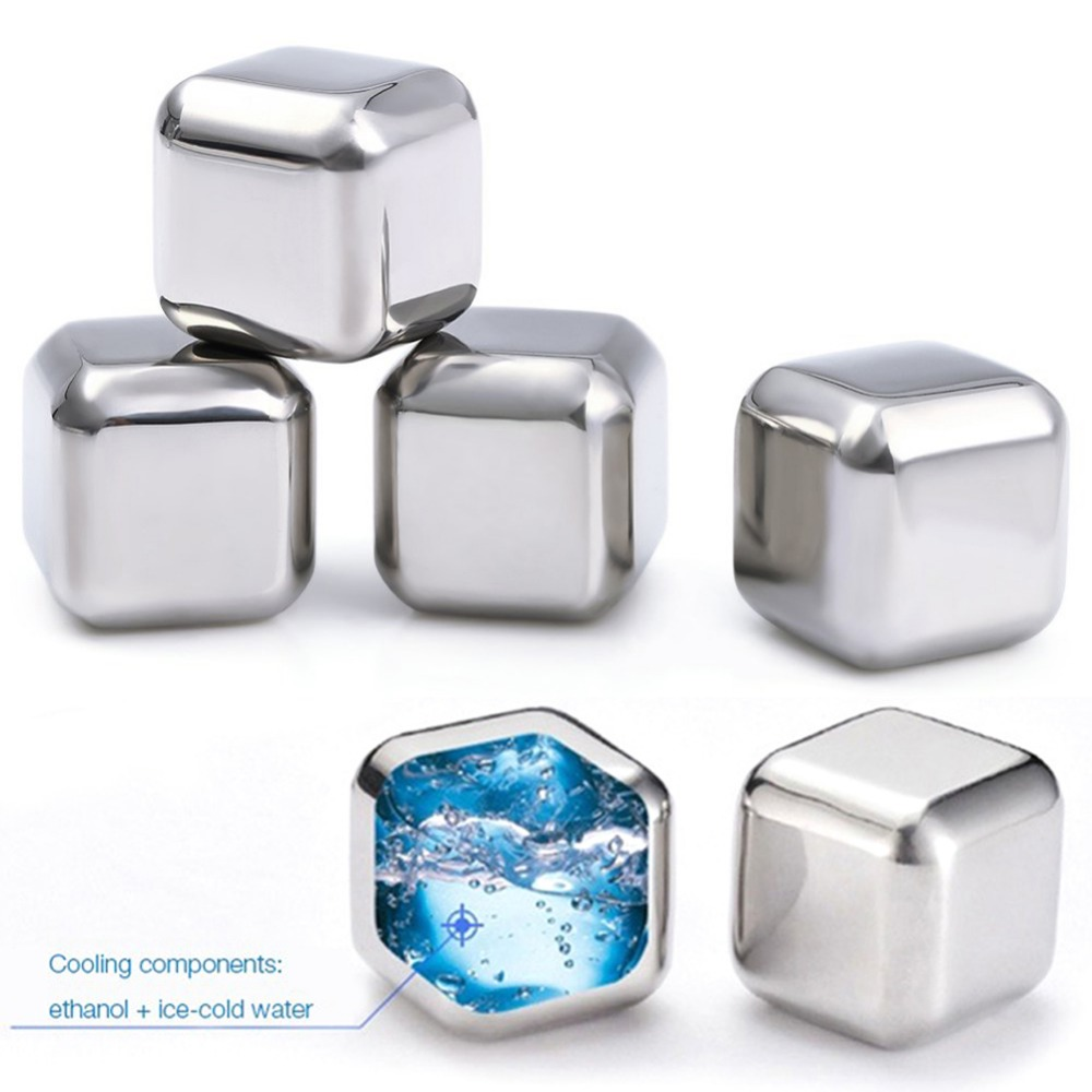 6 pcs/lot Stainless Steel Whiskey Stones Ice Cubes Soapstone Glacier Cooler Stone