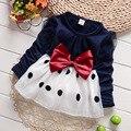 Vestido de la muchacha del bebé embroma la ropa alta calidad 2016 nueva moda algodón niños ropa niñas niños flor del cordón de la princesa del arco