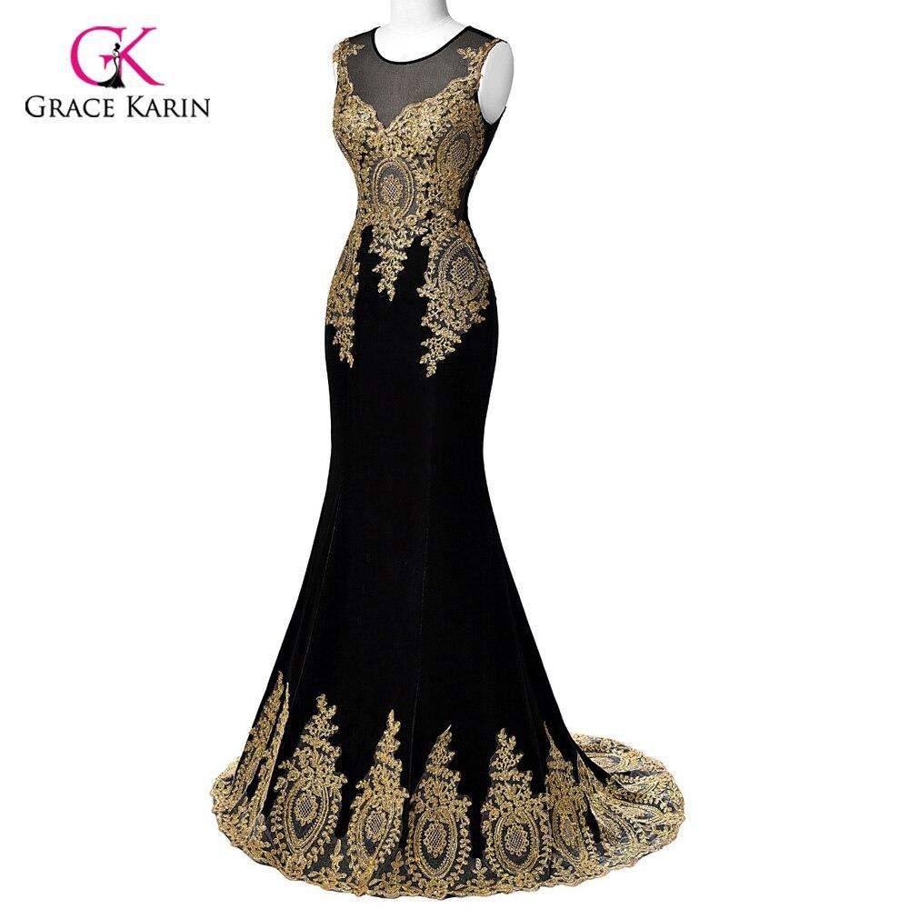 Luxury Mermaid Prom Dresses 2018 Grace Karin Black Blue Red Gold Appliques scoop long Prom Dresses white Beaded vestido de festa