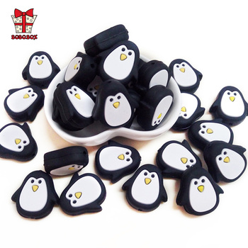BOBO.BOX 50/100pcs Penguin Baby Teether Pacifier Clips Chain Beads Pearl Silicone Teething Toys Food Grade Mini Silicone Teether personalized name baby teether silicone pacifier clips holder infant teething toys baby shower gift food grade silicone