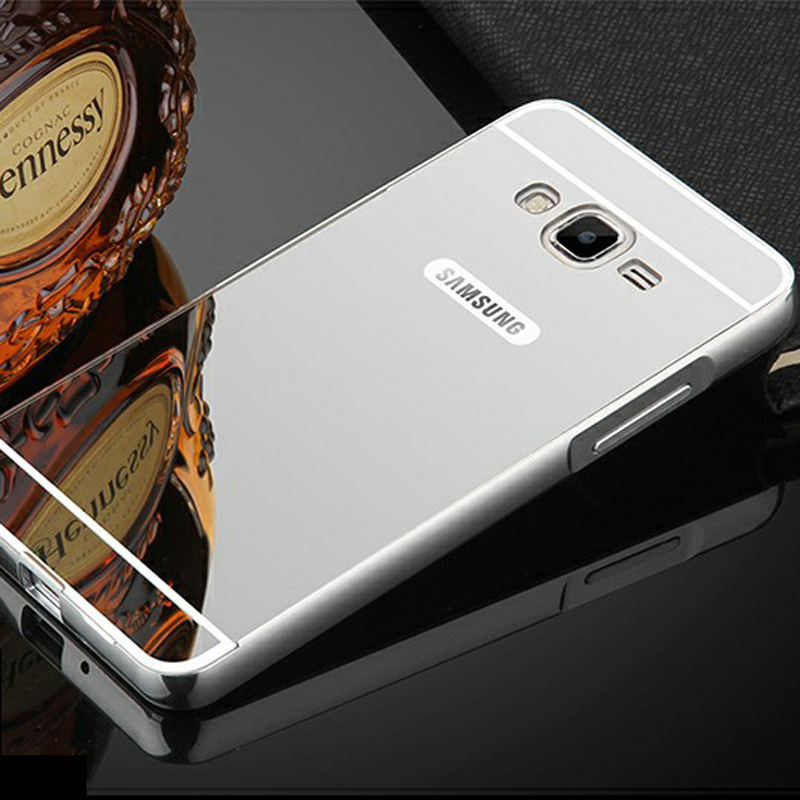 Luxury Mirror PC Back Cover Case For Samsung Galaxy J2 Prime Anti knock Protection Cases Plating Aluminum Metal Frame in Fitted Cases from Cellphones Telecommunications