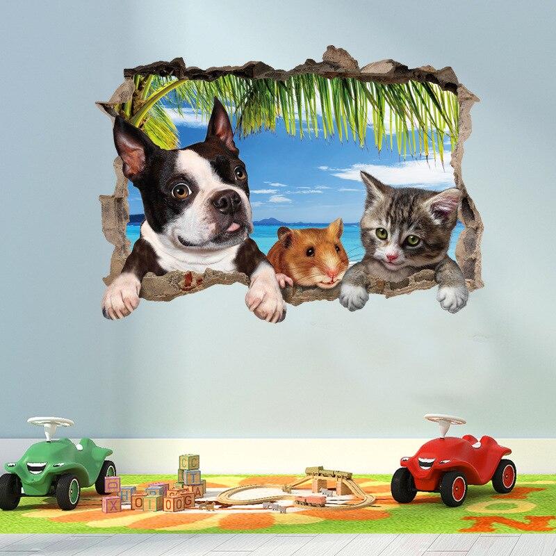 Adhesivos para pared de paisajes 3D de gato, perro, hámster, Animal, decoración para habitaciones de niños, mural de decoración de habitación, calcomanías decorativas, papel pintado