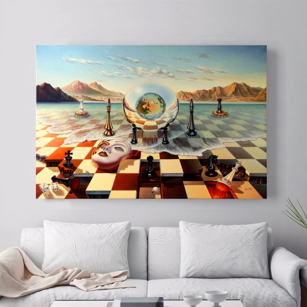 surreal city chess beach set canvas art print painting poster wall pictures for living room home. Black Bedroom Furniture Sets. Home Design Ideas