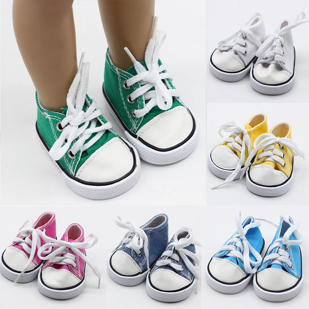 43cm Born Baby Doll Shoes Canvas Lace Up Sneakers White Black Green Pink Red Shoes For 18 Inch Height Girl Dolls Accessories