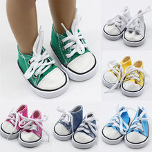 43cm Born Baby Doll Shoes Canvas Lace Up Sneakers White Black Green Pink Red Shoes for 18 inch Height Girl Dolls Accessories(China)