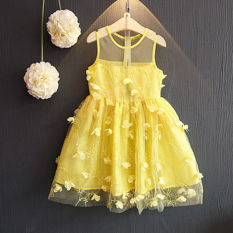 Flower girls dresses sexy transparent shoulder o-neck embroidery sleeveless petal frock summer children girl dress 2018