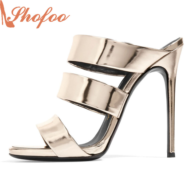 Shofoo Women Fashion Bling Shoes Round Toe Casual Thin Heels Basic Woman Sandals,Zapatos Mujer Tacon Sapato Plus Size4-16