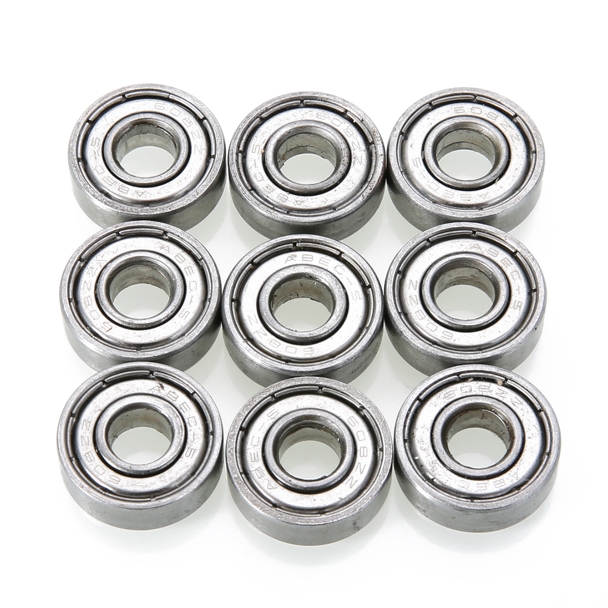 10pcs 608zz Deep Groove Bearing Steel Ball Bearings With Grease For Skateboard Roller Blade Scooter Inline Skating Mayitr