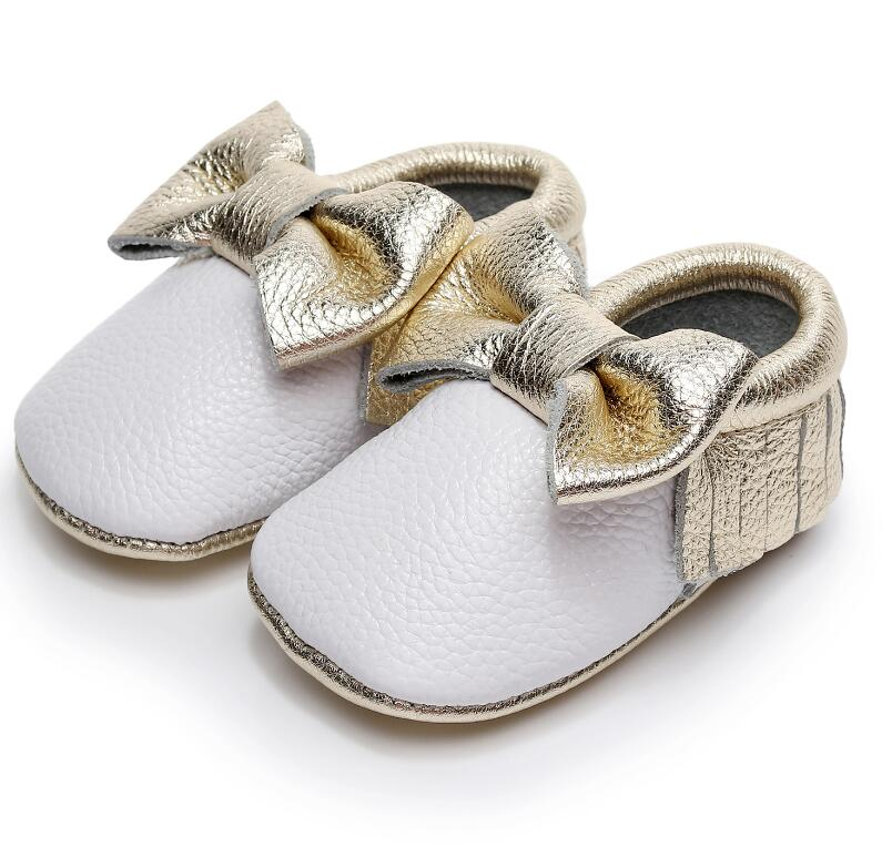 High Quality Genuine Leather Baby Moccasins Soft Sole First Walker Bow Tassel Gold White Mixed Colors Baby Crib Shoes For 0-24M