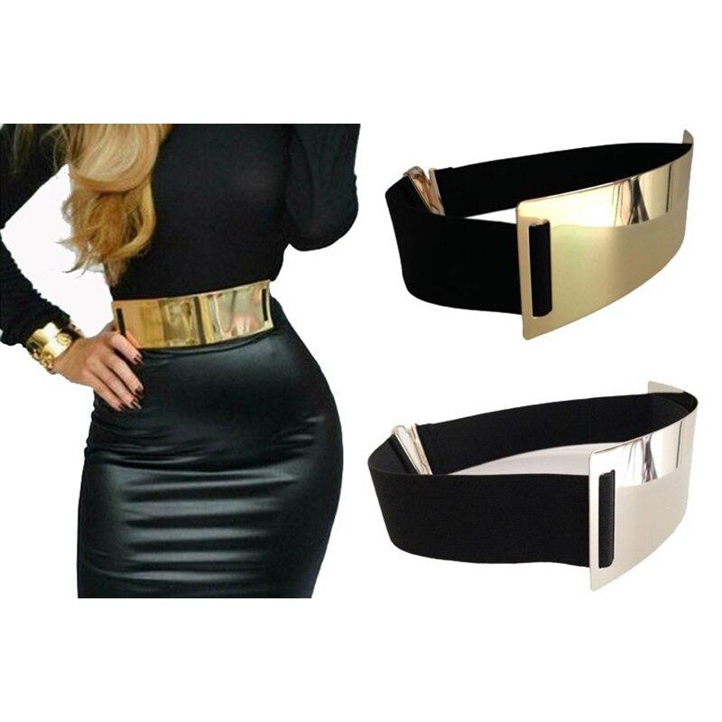 Cintos de grife quente para a mulher ouro prata marca cinto elegante elástico ceinture femme 5 cor cinto senhoras vestuário acessório bg-004
