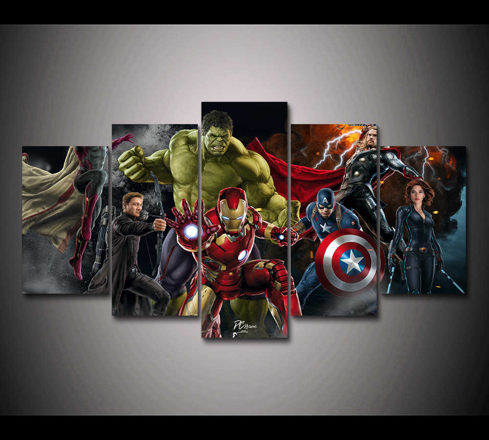 HD Print 5 panel Avengers superheroes movie poster canvas painting for children kids decor canvas wall art picture poster PT1654