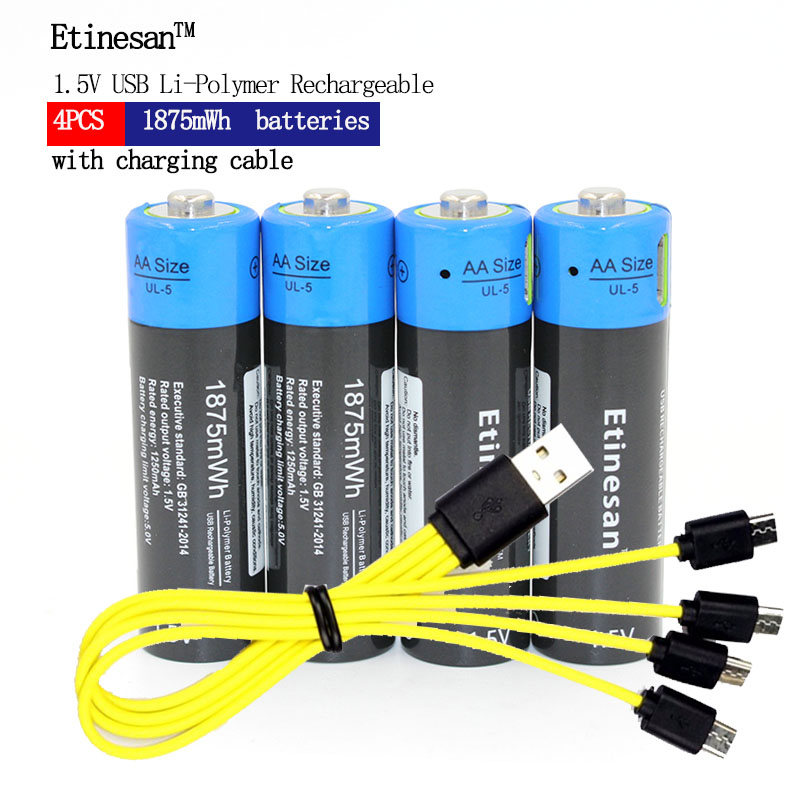 4pcs Etinesan 1.5V AA 1875mWh li polymer rechargeable lithium li ion battery with USB cable pack