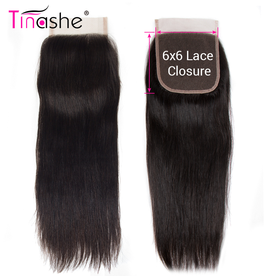 Tinashe Lace Closure Pre-Plucked 10-20inch 6x6 Hair Swiss Natural-Color Remy Straight