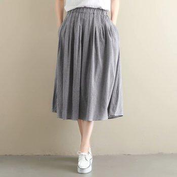 Cotton Linen Midi Plaid Skirt Women Spring Summer Classic Vintage Skirt Female A Line Elastic High Waist Skirts 2019 цена 2017