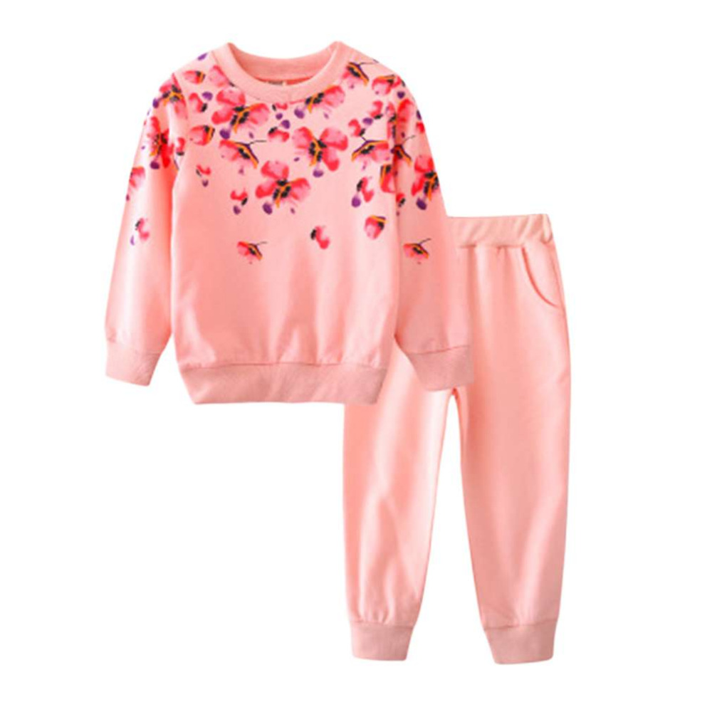 New Fashion 3 Colors Spring Autumn Girls Clothing Set Floral Kids Suit Set Casual Two-Piece Sport Suit For Girl Tracksuit Childr