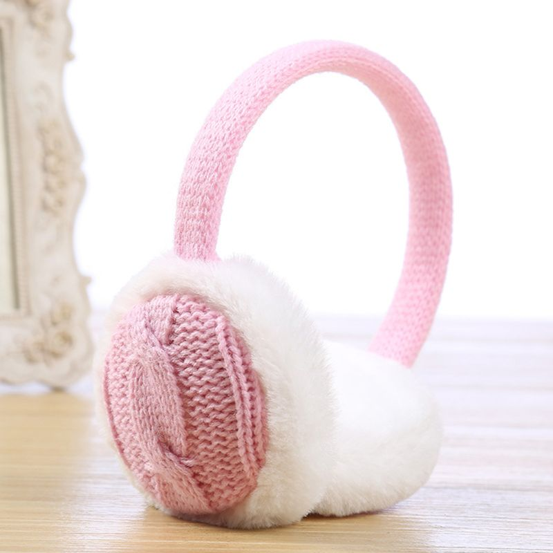 Unisex Winter Short Plush Lined Earmuffs Jacquard Vintage Braided Knitted Earflap Contrast Color Ear Cover Warmer Head
