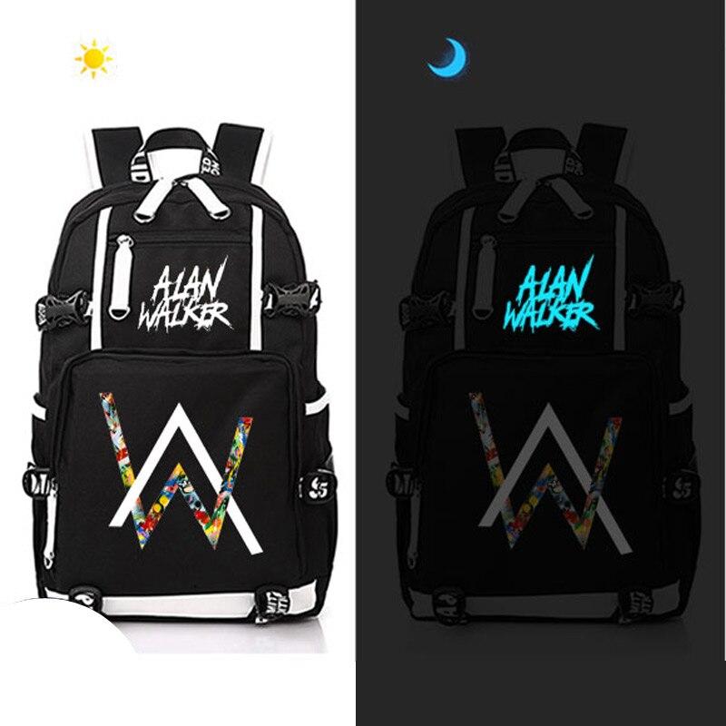 luminous alan walker Backpack Canvas Bag Schoolbag Marshmello Travel Bags women men hot martin garrix backpack canvas bag luminous schoolbag travel bags