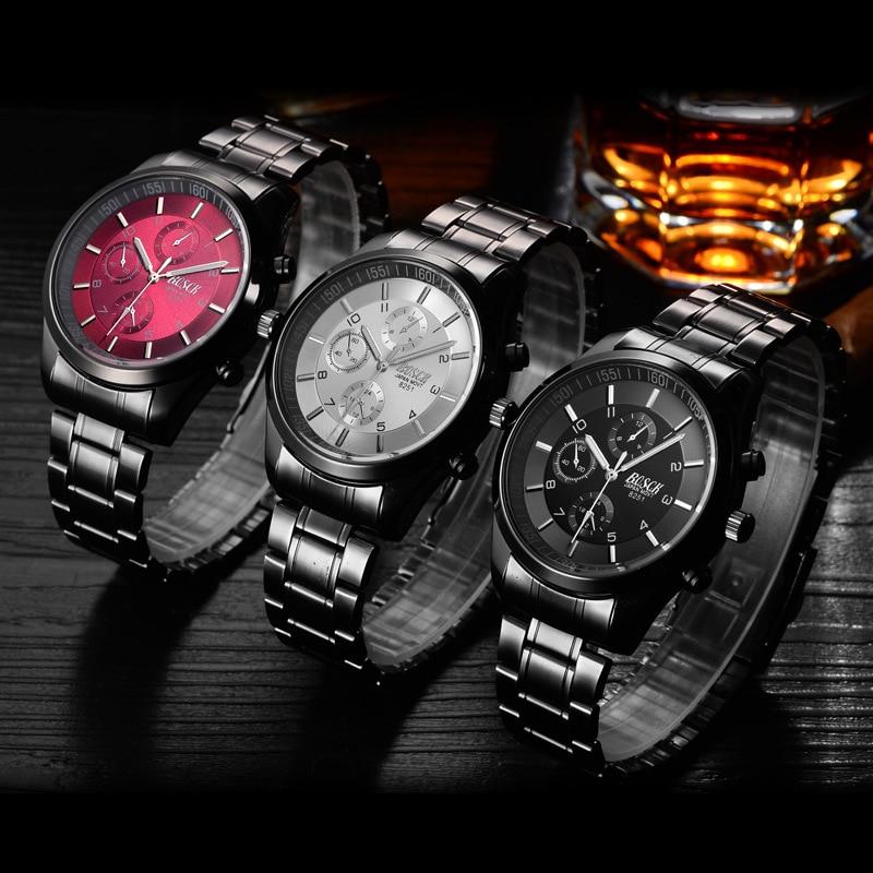 Top Luxury Brand Bosck Men Vattentät Stainless Steel Band Watch - Herrklockor - Foto 4