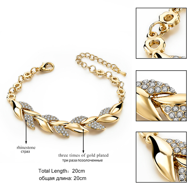 TOUCHEART Braided Gold color Leaf Bracelets & Bangles With Stones Luxury Crystal Bracelets For Women Wedding Jewelry Sbr140296 2