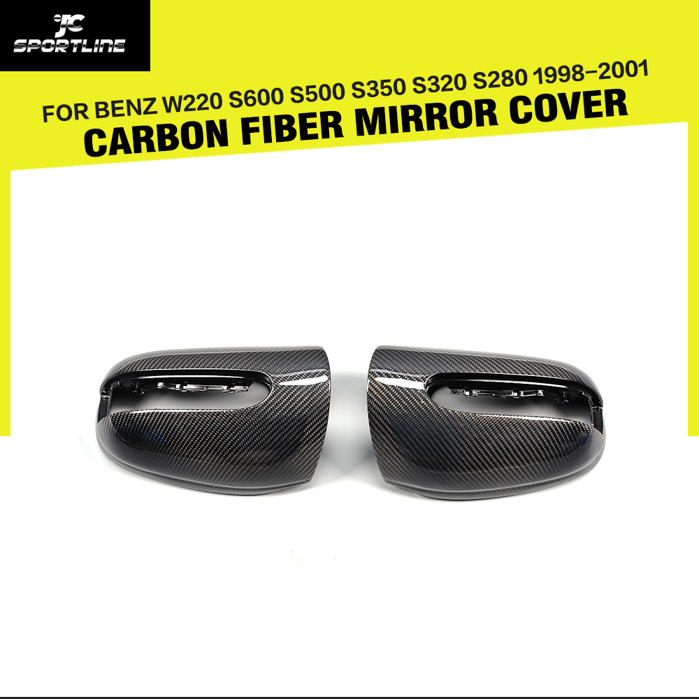 Carbon Fiber Side Rearview Mirror Cover Caps for <font><b>Benz</b></font> S-Class <font><b>W220</b></font> S600 <font><b>S500</b></font> S350 S320 S280 1998-2001 Replacement Style image