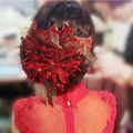 Noble Crystal Tassel Peony Flower Hair Accessories Wedding Hair Pin the Chinese dress accessories Red Lace Bride Headdress