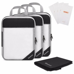 Gonex 8pcs/set Compression Packing Cubes Mesh Hanging Travel Luggage Suitcase Organizer with Shoe & 4 Reusable Zip Storage Bags