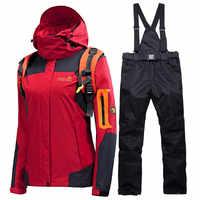 Combinaison de Ski d'hiver femmes marques 2018 veste et pantalon de Ski de haute qualité neige chaude imperméable coupe-vent combinaisons de Ski et de snowboard