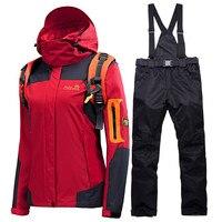 Зимний лыжный костюм женский бренд 2018 высокое качество лыжная куртка и брюки зимние теплые непромокаемые ветрозащитные лыжные и сноуборди