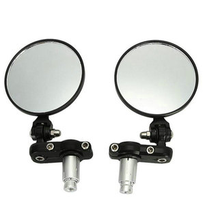 """Image 1 - Motorcycle Round 7/8"""" Handle Bar End Foldable Motorbike Rear View Side Mirrors Cafe Racer Mirrors"""