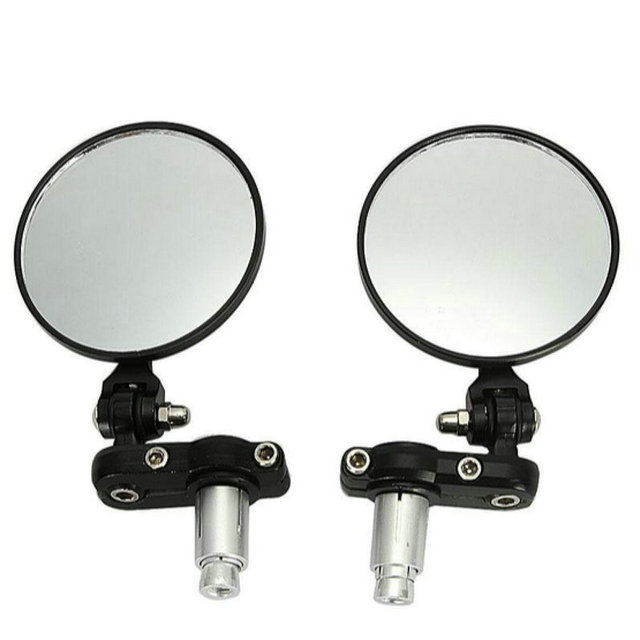 """Motorcycle Round 7/8"""" Handle Bar End Foldable Motorbike Rear View Side Mirrors Cafe Racer Mirrors"""