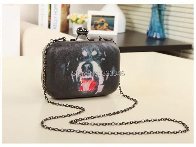 freeship 2016 new personality dog head Printing clutch / evening bag / punk chain shoulder bag  bolsa