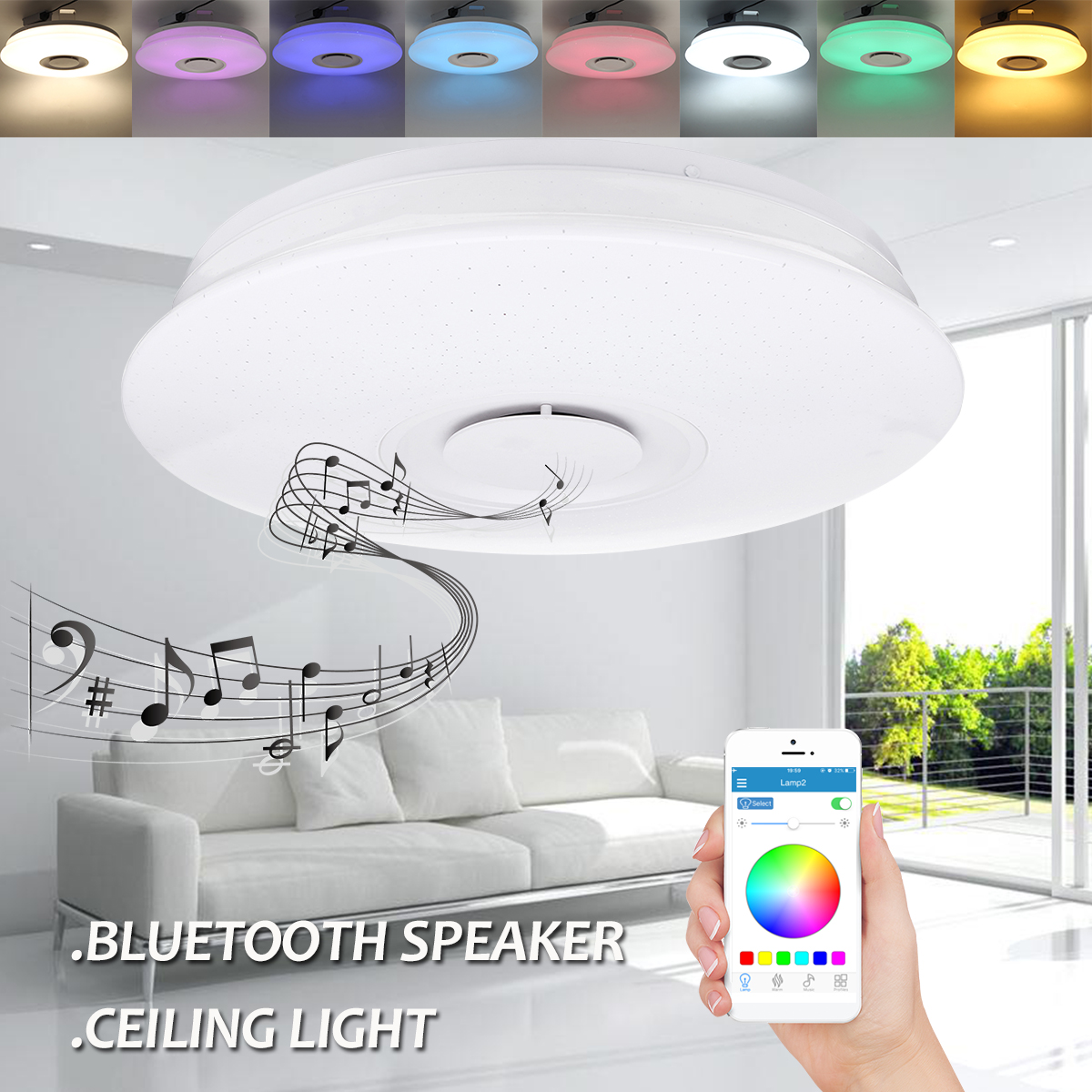 LED Ceiling Speaker Lamp Dimmable Smart App Remote Control RGB Led Bluetooth Music Speaker Ceiling Lights for Living Room [dbf]e27 10w bluetooth speaker for mobile smart led light lamp music wireless speaker color change dimmable by ios android app
