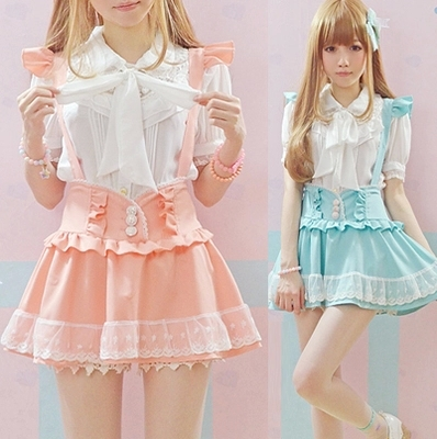 High Waisted Summer Skirt Falda Tirantes Cute Japanese