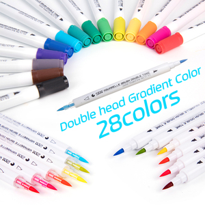 Image 5 - STA Premium 14 pièces 28 couleurs dégradé aquarelle marqueur stylo Soluble dans leau Double pointes Art marqueur ensemble pour dessin Design Manga