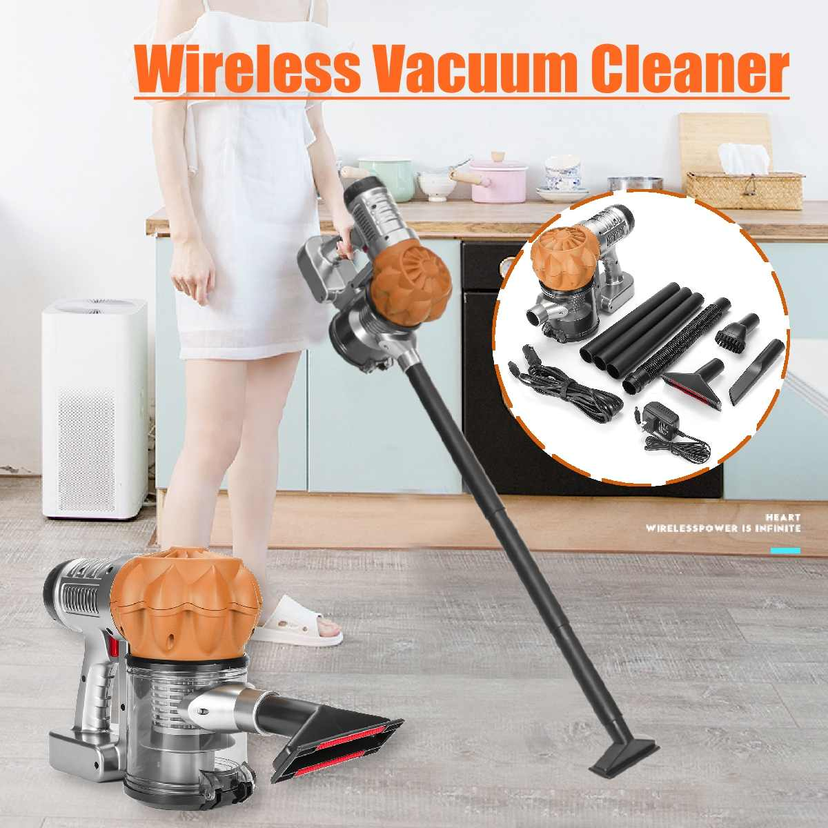 Wireless Low Noise Home Portable Vacuum Cleaner Handheld Wiping & Abosorbing Dust Collector Household Mop Aspirator  Gold