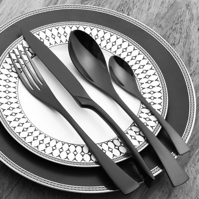 Black Silverware Sets 18/10 Stainless Steel Gold Cutlery Set Dinner Knives Forks Scoops Set & Black Silverware Sets 18/10 Stainless Steel Gold Cutlery Set Dinner ...