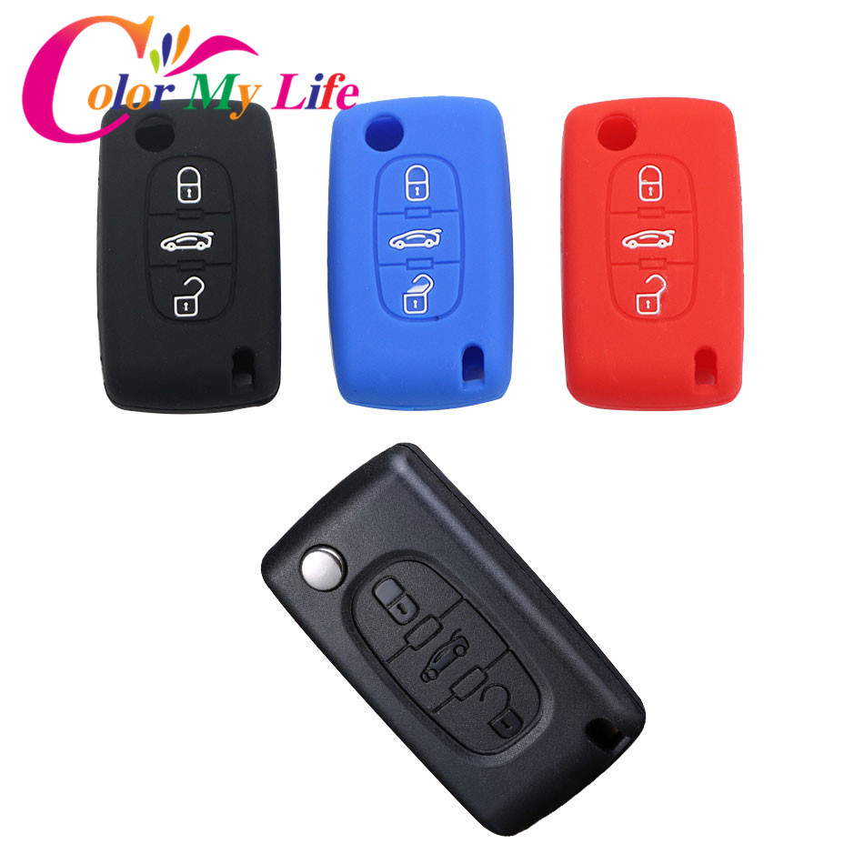 Color My Life Silicone Car Key Protection Fob Case Cover for Peugeot 208 207 3008 308 408 407 307 206 3 Buttons Key Accessories